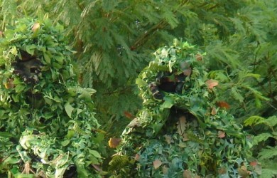 Two men in leaf camouflage